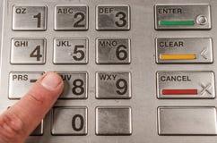 Closeup av atm-maskintangentbordet Royaltyfri Bild