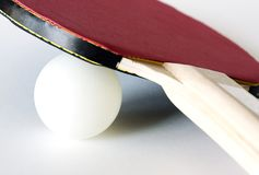 Closeup av bordtennisutrustning royaltyfria bilder