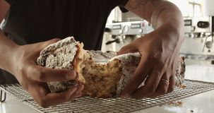 Closeup av briochekakan Textur av kakan med russin lager videofilmer