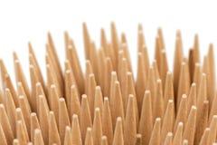 Closeup av bunten av trätandpetare Arkivbild