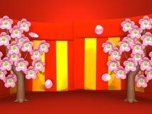 Closeup av Cherry Blossoms And Red-Gold Curtains på röd bakgrund stock illustrationer