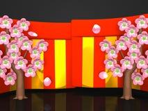 Closeup av Cherry Blossoms And Red-Gold Curtains på svart bakgrund stock illustrationer