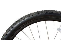 Closeup av cykelgummihjulet Arkivbild