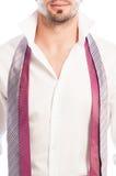 Closeup av den öppna skjortan och två slipsar Royaltyfria Foton
