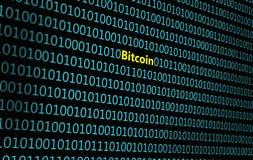Closeup av den binära koden, med den inskrift`-Bitcoin `en, royaltyfri illustrationer