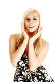Closeup av den blonda flickan. Fotografering för Bildbyråer