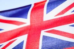 Closeup av den brittiska flaggan för UK-flagga. Symbol av det europeiska landet. Arkivbild