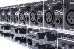 Closeup av den dubbla bussen Mic Line Zone Mixer för kanal 3 för ULTRAZONE 8 Fotografering för Bildbyråer