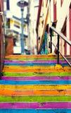 Closeup av den färgrika trappuppgången royaltyfri bild