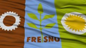 Closeup av den Fresno stadsflaggan Arkivfoto