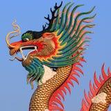 Closeup av den guld- draken Arkivbilder