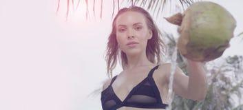 Closeup av den härliga glamourkvinnan som bär hällande vatten för svart swimwear från kokosnöten på en härlig sommardag mellan pa Royaltyfri Bild
