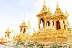 Closeup av den härliga guld- sikten den kungliga krematoriet för HM den sena konungen Bhumibol Adulyadej på November 04, 2017 Arkivbild