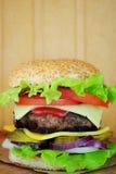 Closeup av den hem- gjorda hamburgaren Arkivfoto