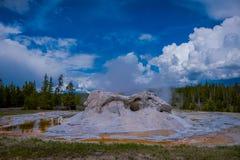 Closeup av den jätte- geyseren, den andra mest högväxta geyseren av världen ÖvreGeyserhandfat, Yellowstone nationalpark fotografering för bildbyråer