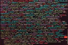 Closeup av den Java Script, CSS- och HTML-koden royaltyfri foto