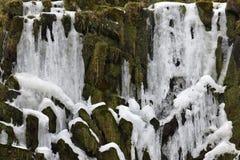 Closeup av den med is vattenfallet i Kassel, Tyskland Arkivbilder