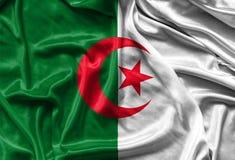 Closeup av den silkeslena algeriska flaggan Fotografering för Bildbyråer