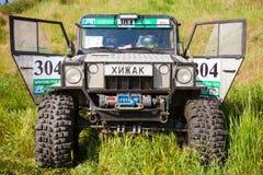 Closeup av den specialbyggda bilen TR3 Rovdjurs- text licenserar på plattan Royaltyfri Foto