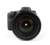 Closeup av den svarta fotokameran som isoleras på vit Royaltyfria Bilder