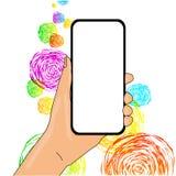 Closeup av den tomma sk?rmen Smartphone som vertikalt rymms i hand med tomt utrymme f?r text Id?rik bakgrund f?r stock illustrationer
