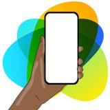 Closeup av den tomma sk?rmen Smartphone som vertikalt rymms i hand med tomt utrymme f?r text Id?rik bakgrund f?r vektor illustrationer