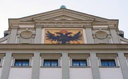 Closeup av det Augsburg stadshuset arkivbilder