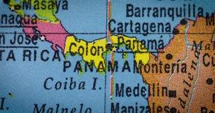 Closeup av det Panama landet på jordklotet lager videofilmer