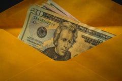 Closeup av dollar i brunt kuvert Royaltyfria Bilder