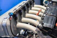 closeup av en BMW motor arkivfoto
