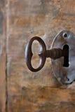 Closeup av en gammal keyhole med nyckel- royaltyfri bild