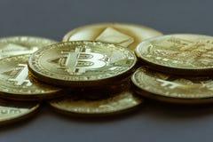 Closeup av en hög av crypto valutor royaltyfria foton