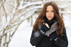 Closeup av en härlig kvinna med stilbrunthår Fotografering för Bildbyråer