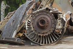Closeup av en jetmotor av ett amerikanskt flygplan som sköts ner Royaltyfri Foto