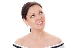 Closeup av en kvinna som ser kopieringsavstånd Arkivbilder