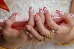 Closeup av en kvinnas fingrar med härlig manikyr och många cirklar, i den vita klänningen och att rymma den rosa maträtten royaltyfri foto