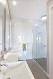 Closeup av en modern lavoar med en near spegel I för silvervattenkran Royaltyfri Foto