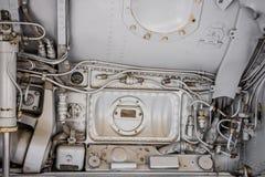 Closeup av en tung militär hydraulik arkivbild
