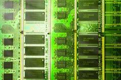 Closeup av ett bräde för elektronisk strömkrets med en processor Royaltyfri Fotografi