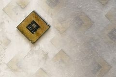 Closeup av ett bräde för elektronisk strömkrets med en processor Fotografering för Bildbyråer