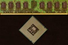 Closeup av ett bräde för elektronisk strömkrets med en processor Royaltyfria Bilder