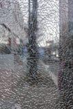 Closeup av ett splittrat exponeringsglas royaltyfri foto