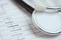 Closeup av ett svart stetoskop på medicinsk analys Royaltyfria Bilder