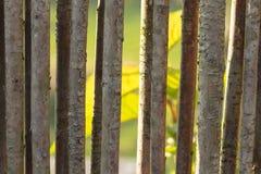 Closeup av ett trädgårds- staket som göras av vävt brwonpilträ Dig arkivbild