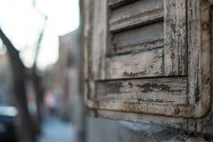 Closeup av ett träfönster Royaltyfri Fotografi