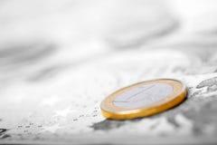 Closeup av eurosedlar och mynt arkivfoto