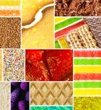 Closeup av färgrika öknar i collage fotografering för bildbyråer