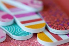 Closeup av färgrika Emery Boards arkivfoto