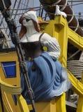 Closeup av för tappningsegling för galjonsfigur ombord skeppet royaltyfri foto