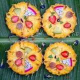 Closeup av fruktpizza Arkivfoto